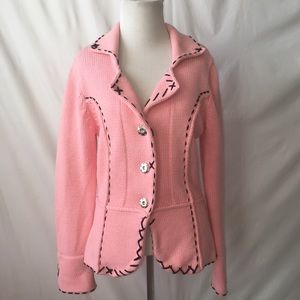 Anthropologie One Girl Who Pink Cardigan Sweater